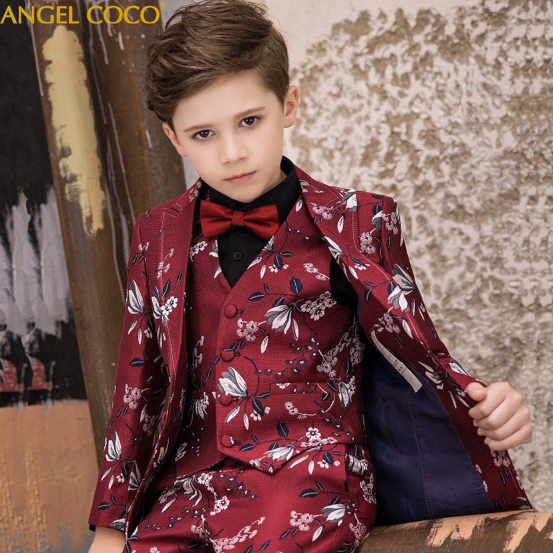 High Quality Spring Autumn Boys Blazer Children's Suit Print Lapel Into Casual Suit 5pcs Suit + Vest + Shirt + Pants + Bow Tie