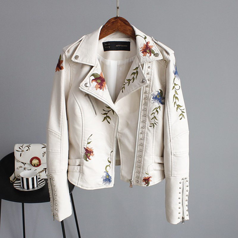 Ailegogo Punk Style Faux Soft Leather Jacket Women Embroidery Floral Faux Leather Jacket Pu Motorcycle Epaulet