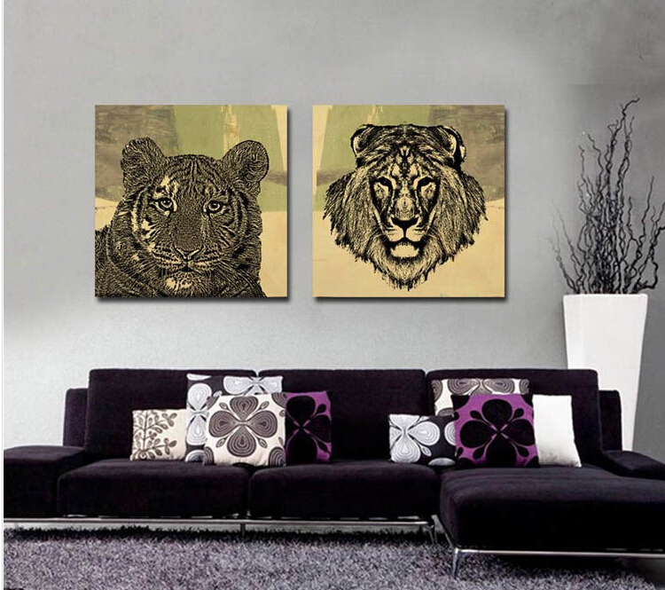 Modern Living Room Decoration Abstract Animal Oil Painting Canvas Prints Study Storerooms Decors Sketch Tiger Lion