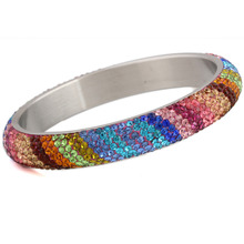 7 Row cristal pavimenta el acero inoxidable pulseras brazaletes para mujeres