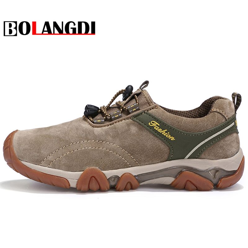 Bolangdi New Men Non-slip Hiking Shoes Hot Sale Waterproof Uneebtex Hiking Shoes Brand Genuine Leather Outdoor Sneakers for Men bolangdi 2017 new anti slip outdoor men hiking shoes high quality trekking camping shoes breathable lace up brand sport sneakers