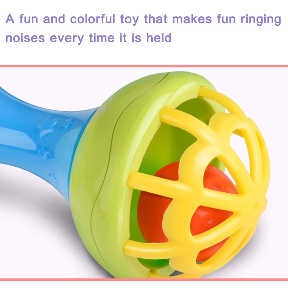 vKid Fun Novelty Toy Gift Anti-stress Boy Girl Baby Musical Hand Shaking Rattle Toy Todder Educational Teether Dumbbell Toy