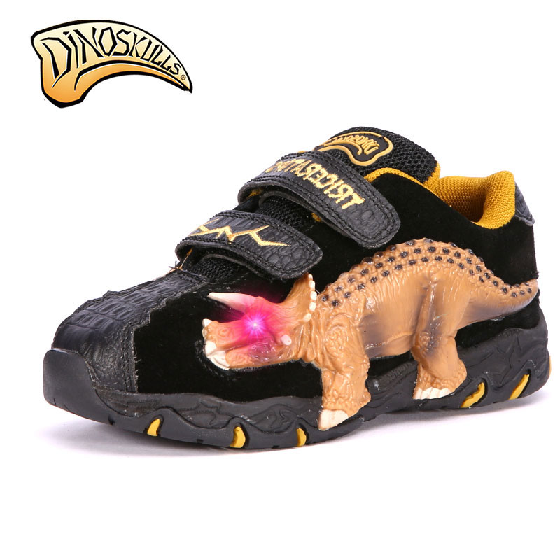 Dinoskulls 2018 Boy Glowing Sneakers Led Light Up genuine leather shoes 3D with light led dinosaur light sports shoes 27-34