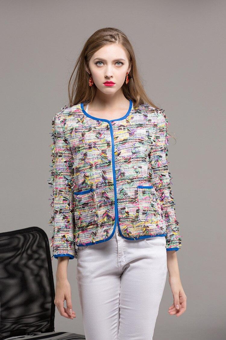 European American Autumn colorful pockets short coats Fashion 2017 Fall lady s tassels jackets S L