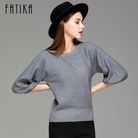 FATIKA 2017 New Fashion Women S Pullover Sweater Women O Neck Batwing Sleeve Wool Knitted Solid