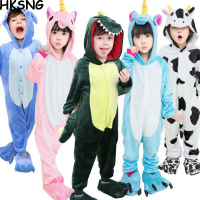 Winter Kid Flannel Animal Kigurums Pikachu Totoro Cat Eeyore Pig Tiger Giraffe Pajamas Onesie Child Cosplay