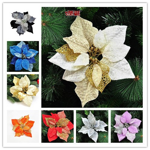 three layer christmas flower purple black white silver gold red blue orange color christmas tree decoration - White Christmas Flower Decorations