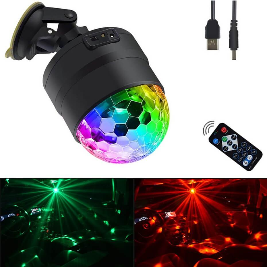 Mini Disco Ball Light Stage Lighting Effect Music Activated DJ Lights 3 Playing Modes USB Cable Suction Cup For Car Home Party
