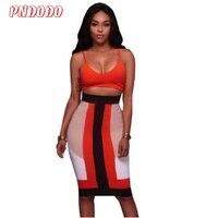 Gaas Maxi Dress 2017 Mode Kleding Vrouwen Twee Stukken Splicing Beha-bandjes Jurk Mode Multicolor Stitch Diepe V Strakke Jurk
