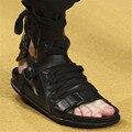 Moda de Verano Sandalias de Los Hombres Punk Estilo Casual Zapatos Planos Gladiador Romano Sandalia Negro Para Hombre Pisos Zapatos de Playa Sandalias Hombres