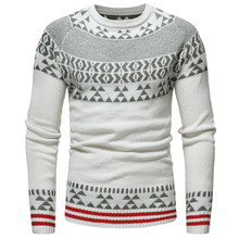 Sweater Spring and Autumn New Men's Casual Slim Jacquard / Christmas Snowflake Round Collar Knit Sweater Large Size S-XXXL slimming trendy stand collar christmas snowflake jacquard long sleeve polyester sweater for men