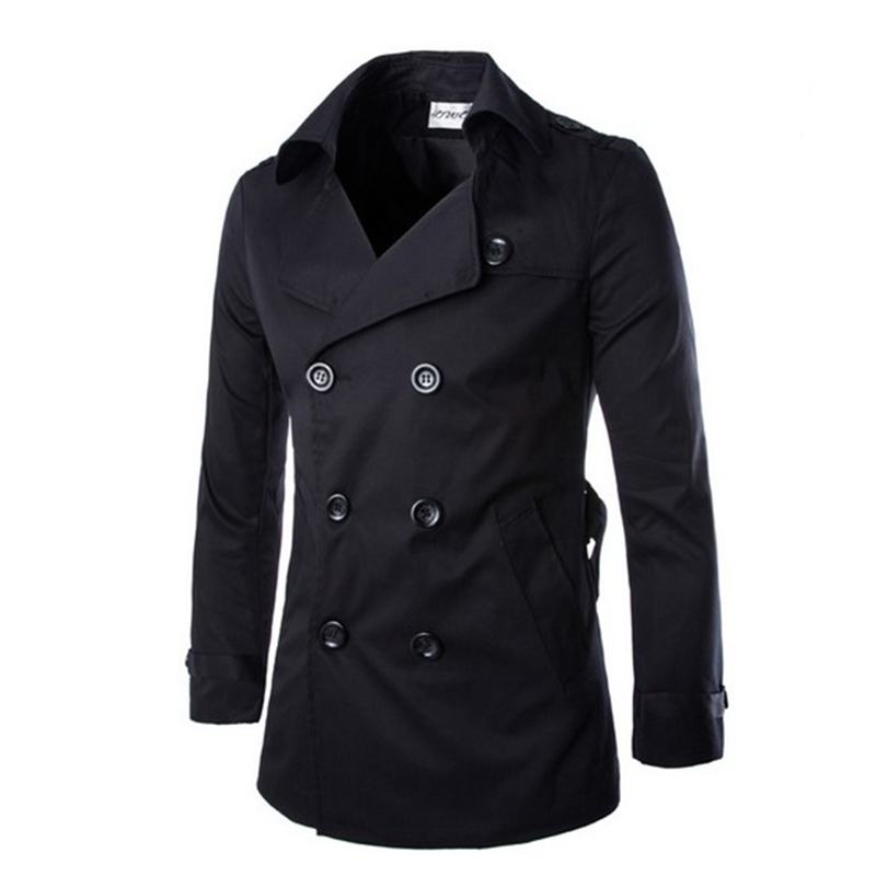 Trench coat men's spring autumn double breasted trench coat mens clothing medium and long jackets & coats british style overcoat