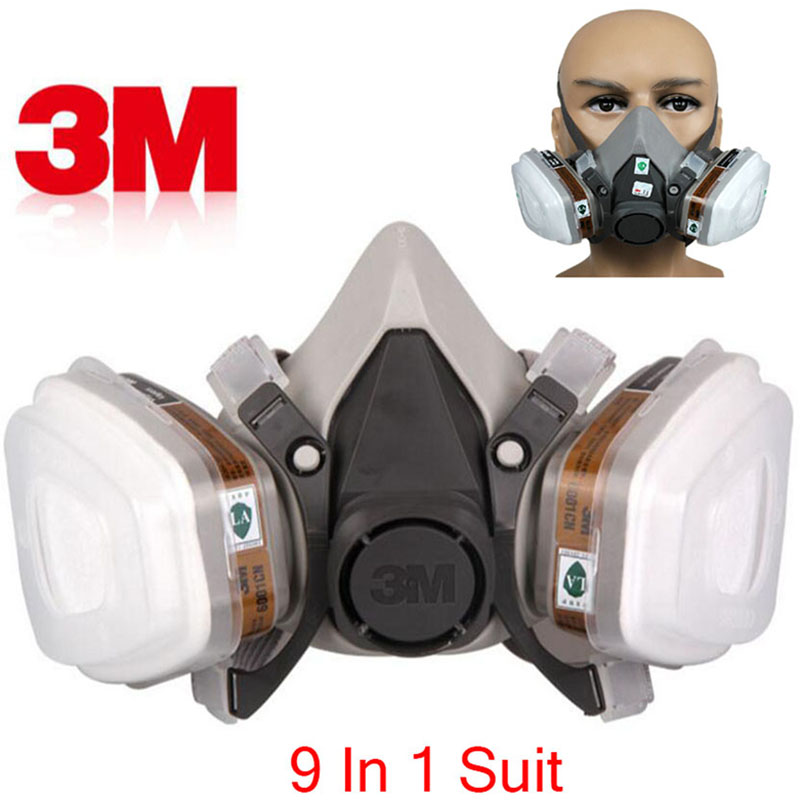 3M 6200 Half Face Respirator Dust Mask 9 In 1 Suit Industry Spraying Safety Face piece Gas Mask Respirator For Paintting 15 in 1 suit painting spraying 3m 6200 half face gas mask respirator chemcial industry anti dust work respirator mask