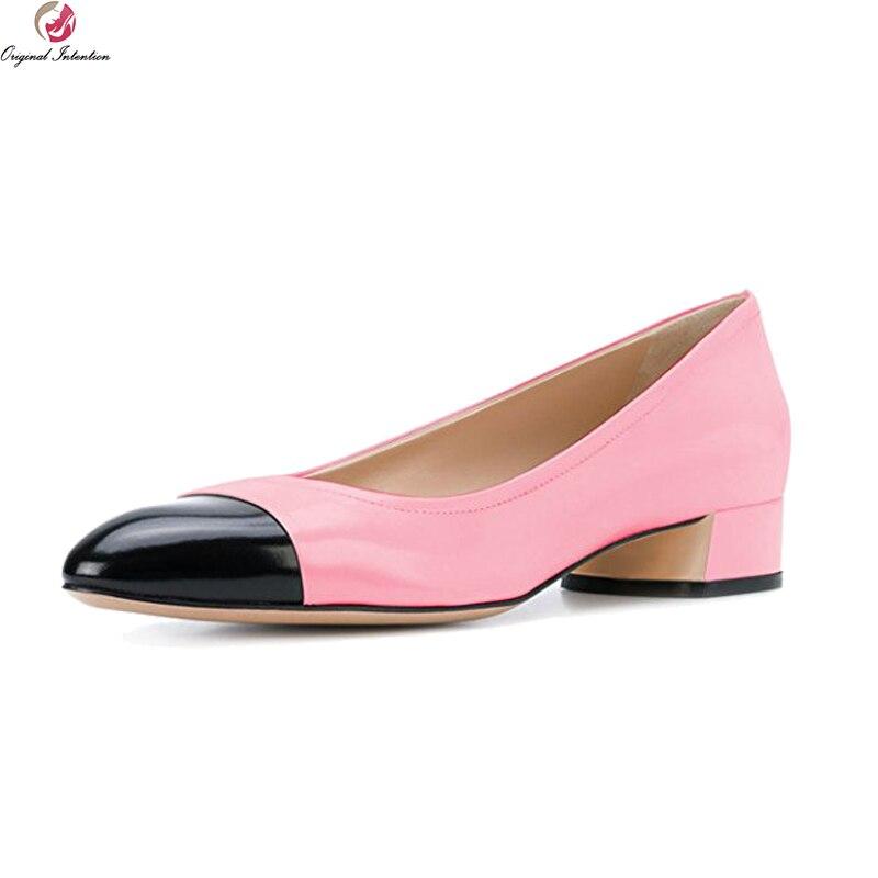 Original Intention Elegant Women Pumps Fashion Round Toe Square Heels Pumps Grey Nude -4728