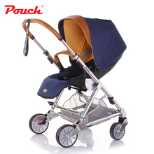 Pouch P80 Kids Travel System High view Baby Stroller with Real Leather Handle Fo