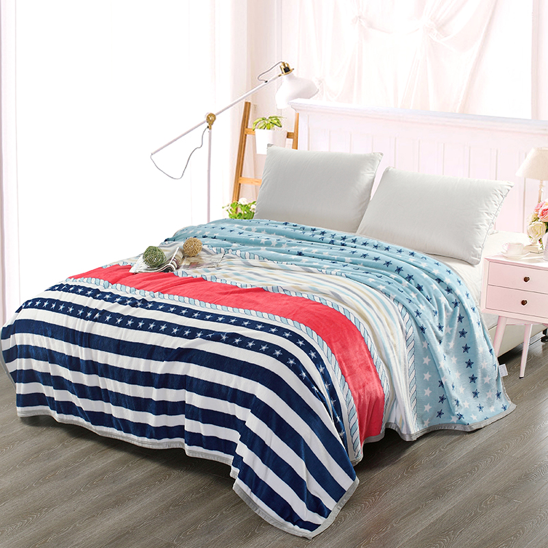 Color Stripe Pattern 1Pcs Bedding Sherpa Blanket For Kids Adults Throw Blanket Sofa Thin Quilt Super Soft Warm 200x230cm 3 Size