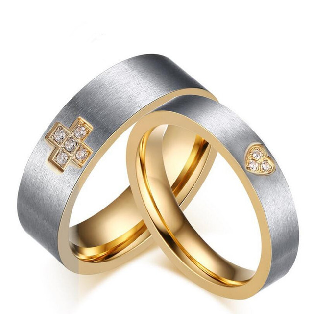 Stainless Steel Two Tone Silver Gold Crystal Wedding Band Rings