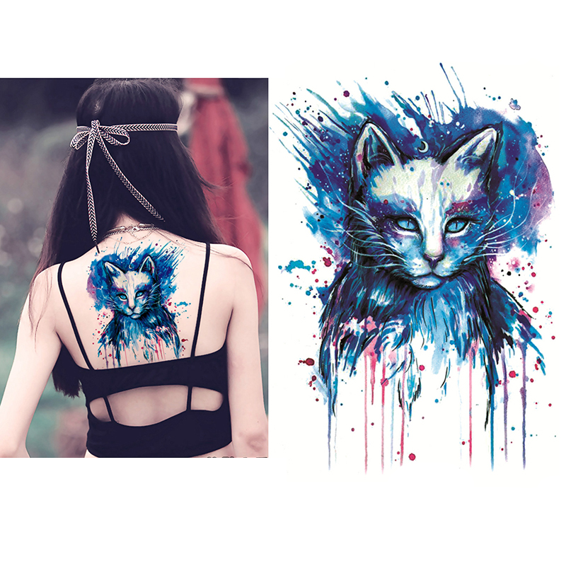 Blue Cat High Quality Decals Body Art Decal Waterproof Paper Temporary Tattoos Stickers