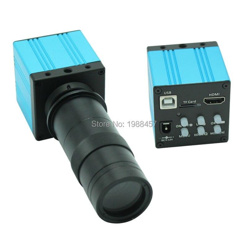 16 MP HD HDMI USB Industrial Digital Microscopio Cámara TF Tarjeta De Almacenamiento Soporte Foto Grabación Vídeo + 8X-130X óptico C- Lente De Montaje