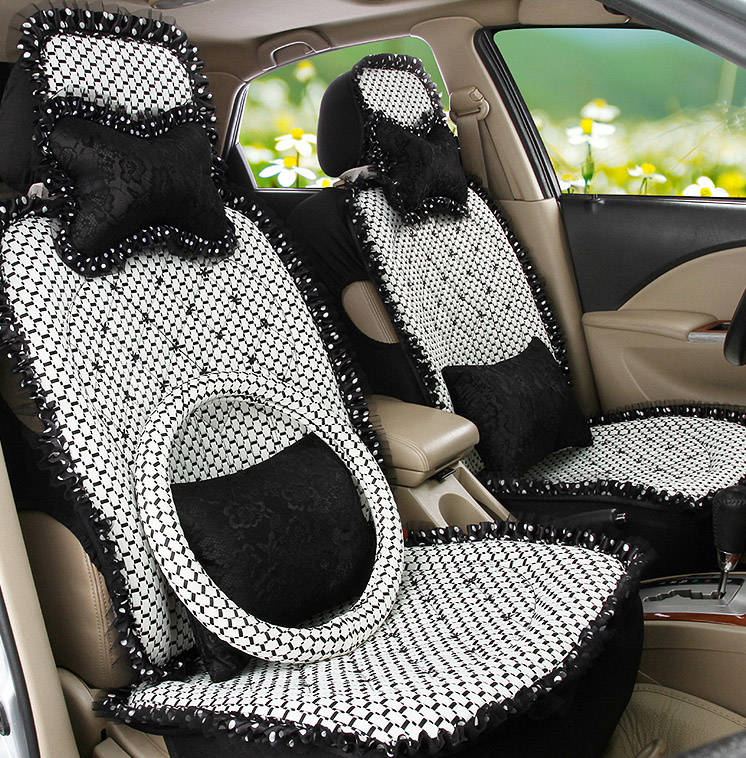 5 Pieces Sets 2016 New Arrival Female Car Seat Cover Four Season Cute Girls Butterfly Lace Cushion Breathable In Automobiles Covers
