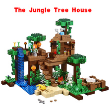 LEPIN Minecraft The Jungle Tree House MY WORLD Compatible legoe 21125 Alex Steve Creeper Skeleton Minifigure Building Blocks Toy