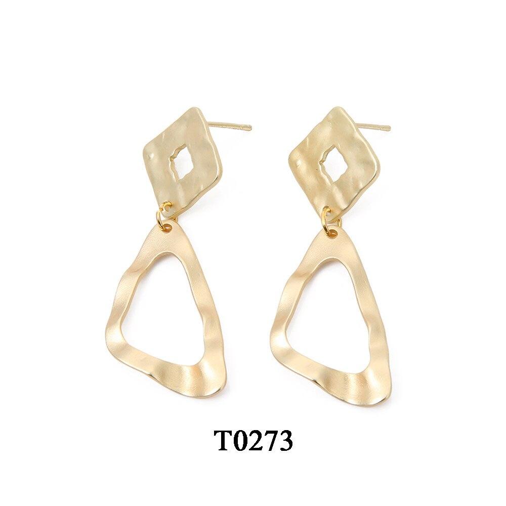 T0273A,亚金色合金镀真金耳环,大约18.6X53mm,针大约11mm