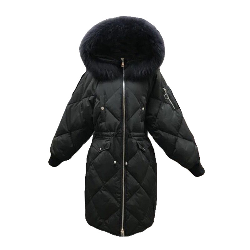 Winter fashion brand good quality big real fur collar duck   down     coat   female zipper stitching hooded warm   down   parkas