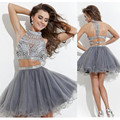 Luxury Sequin Above Knee Mini A-line Cocktail Dress 2016 party dress Two Piece Ruched  Beaded Crystal prom and pageant dress