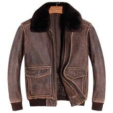 HARLEY DAMSON Vintage Brown Men A2 Pilot Leather Jacket Europe Size XXL Wool Collar Genuine Thick