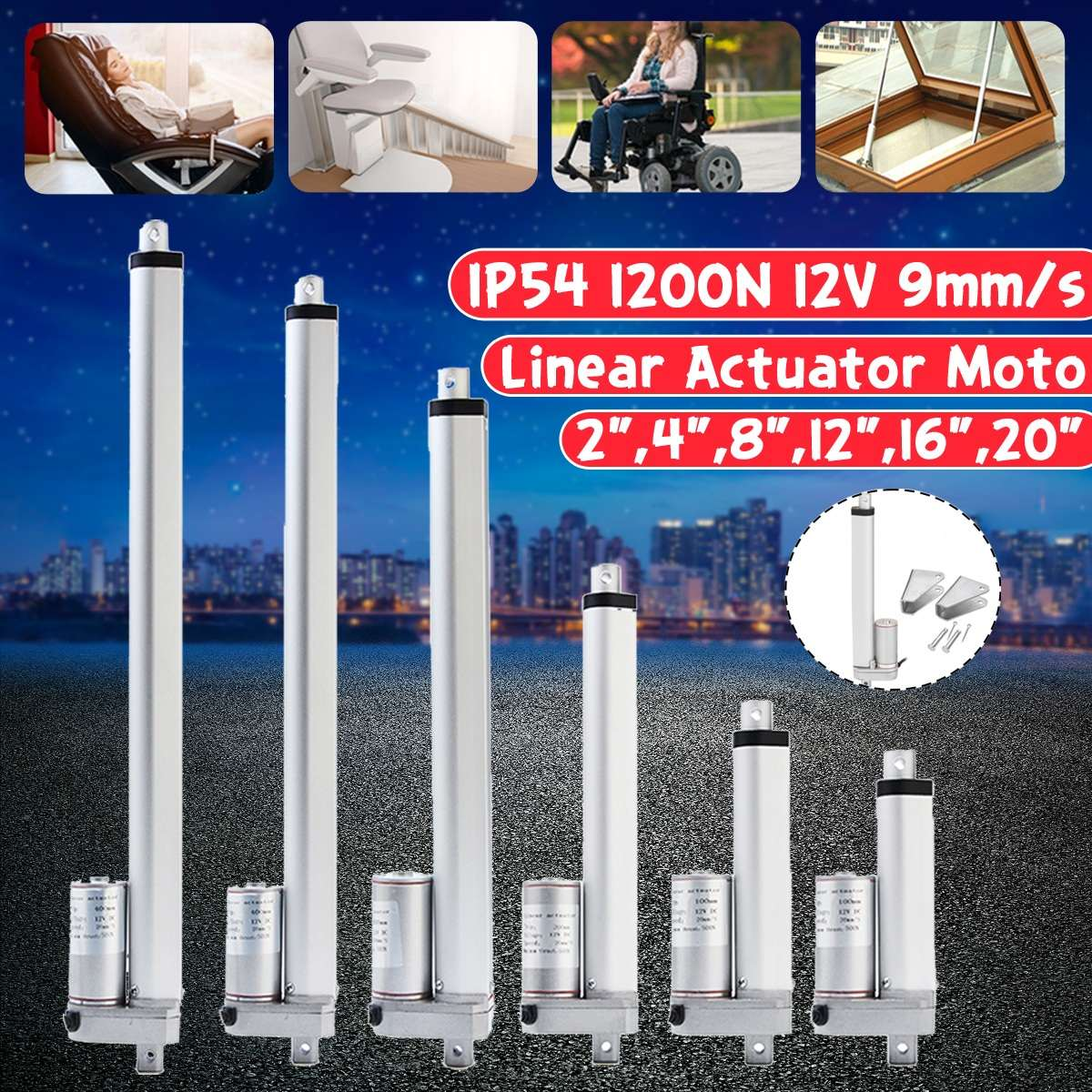 IP54 1200N 12V 9mm/s Small DC Electric Push Rod White Material Aluminum Alloy  For Electric Self Unicycle Scooter Input VoltageIP54 1200N 12V 9mm/s Small DC Electric Push Rod White Material Aluminum Alloy  For Electric Self Unicycle Scooter Input Voltage