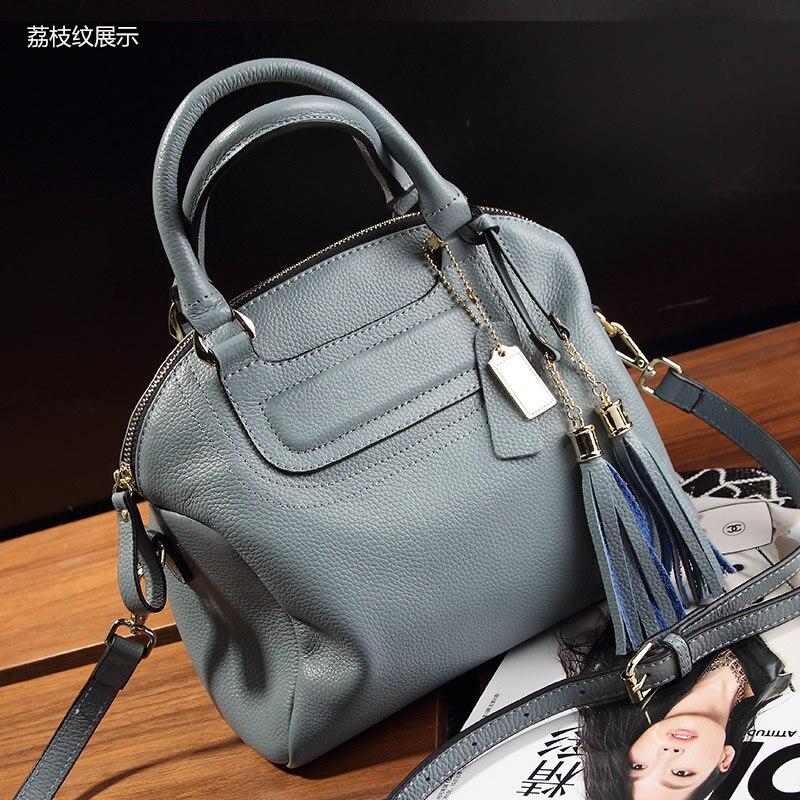 Women Bag 2017 New Leather Handbags Litchi Minimalist Bag Fringed Shoulder Messenger Bag Purse