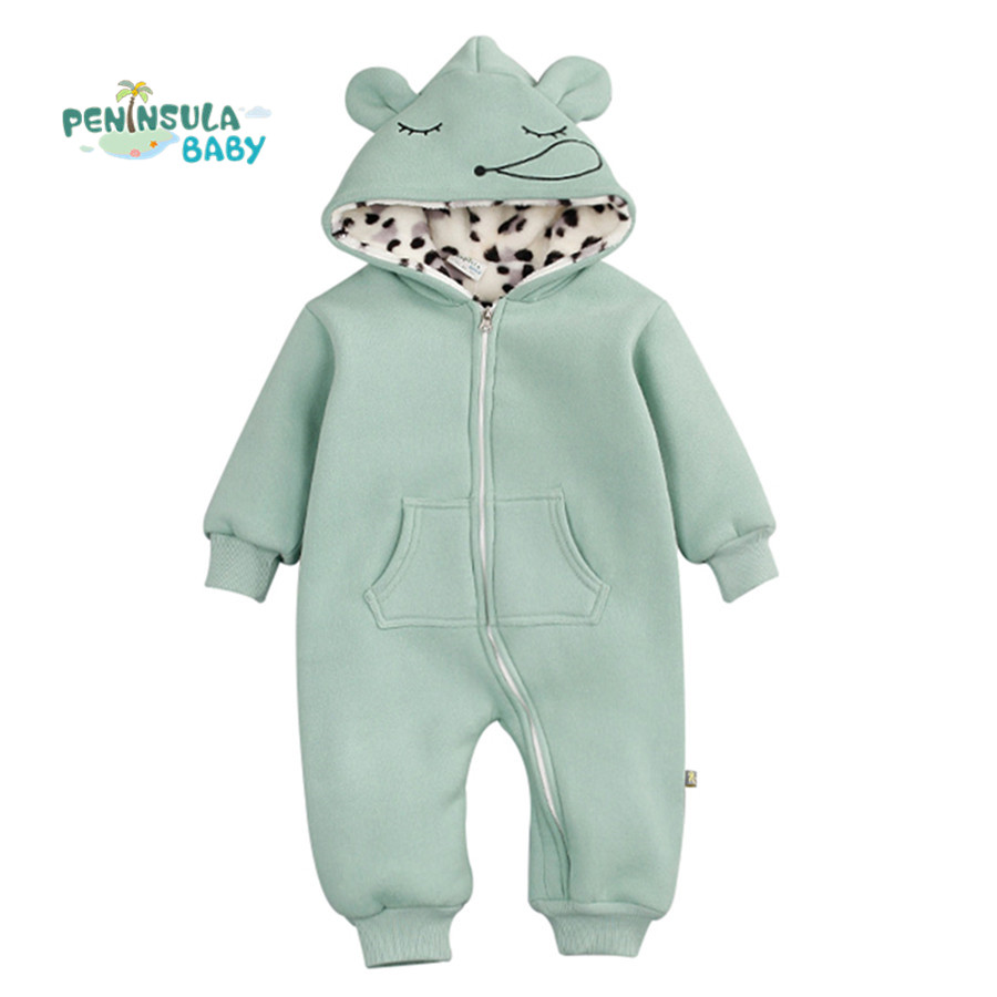 Winter Thick Warm Baby Rompers Cute Animal Hooded Jumpsuits Newborn Boys Clothes Cotton Infant Girls Costume Toddler Outerwear newborn baby girls rompers cotton padded thick winter clothing set cartoon bear infant climb hooded clothes babies boy jumpsuits