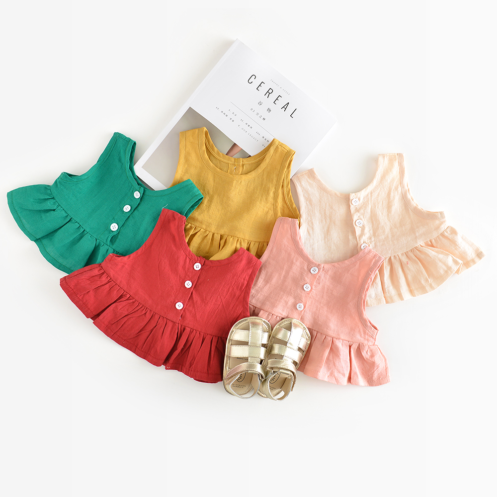 Summer Baby Girls Party Vest Dress Linen Cotton Ruffle Tutu Dress For Girl Kids 1st Birthday Princess Dresses Children Clothing  summer baby girls party vest dress linen cotton ruffle tutu dress for girl kids 1st birthday princess dresses children clothing