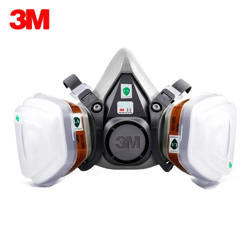 3M 6200 Gas Mask With 3M 6001 Organic Vapor Filter Cartridge Respirator Anti-Fog Haze Pesticide Painting Spraying Face Masks
