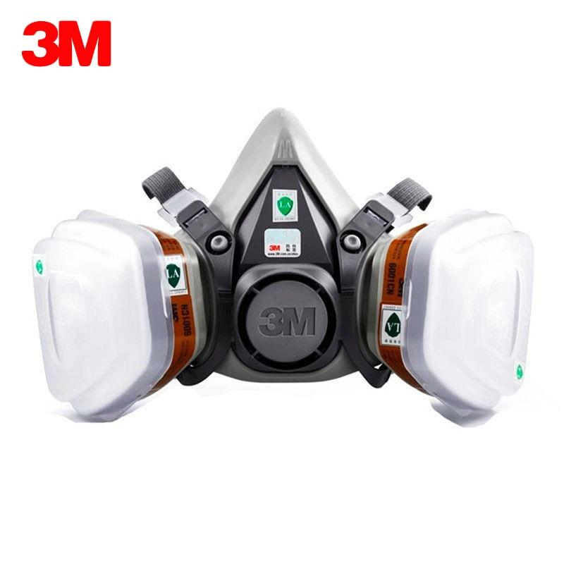 3M 6200 Gas Mask with 3M 6001 Organic Vapor Filter Cartridge Respirator Anti Fog Haze Pesticide Painting Spraying Face Masks