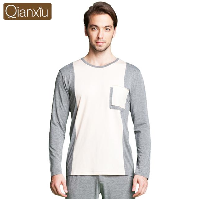 Qianxiu patchwork conjuntos de pijama para casal o-pescoço salão desgaste dos homens de manga longa sleepwear