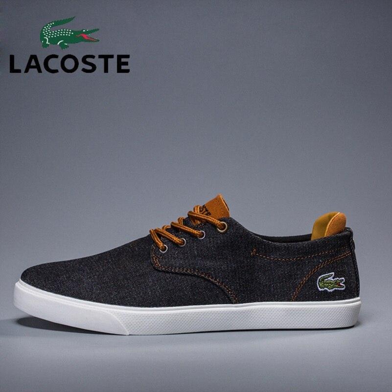 Lacoste 2019 Hommes chaussures décontractées Hommes Sneakers chaussures pour hommes Mâle Appartements Respirant Convas Slip Printemps Automne Hommes de chaussures de course