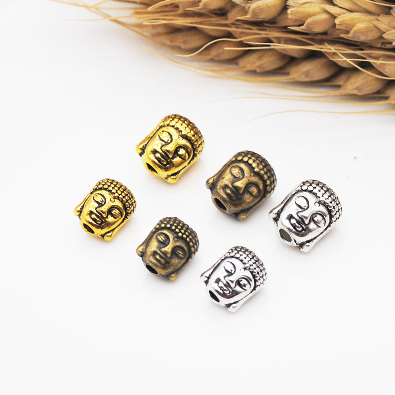 10pcs/lot Antique Silver Gold Plated Buddha Head Charm Beads Fit DIY Making jewelry accessories