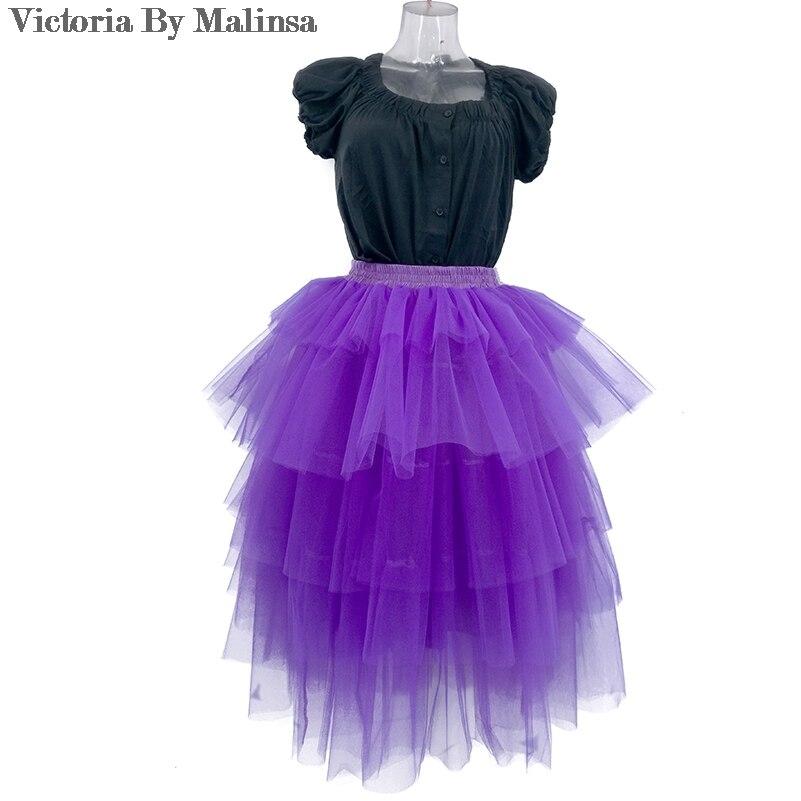 Jupe en Tulle sur mesure jupe violet Lac volants Cascade Tutu jupes femmes robe de bal fête jupon faldas saia jupe
