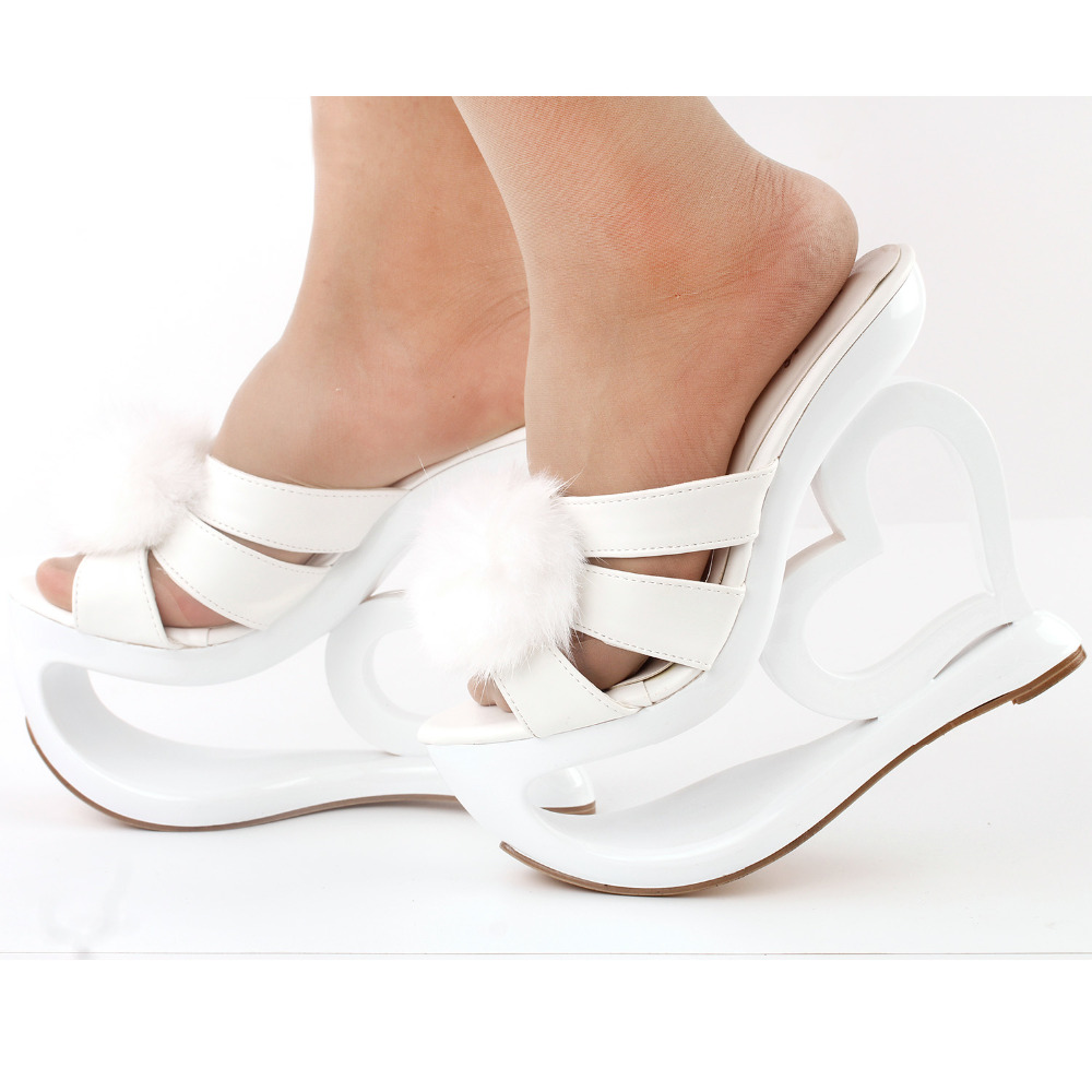 8c6cbf8bb75d LF40211 SHOW STORY Glam White Faux Fur Heart Heel Wedge Wedding Slip ons  Sandals-in Women s Pumps from Shoes on Aliexpress.com