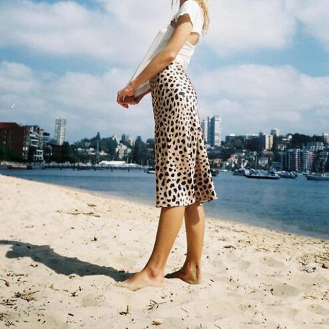 4a39187f4a women vintage leopard naomi wild things mermaid high waist silk satin midi  skirt