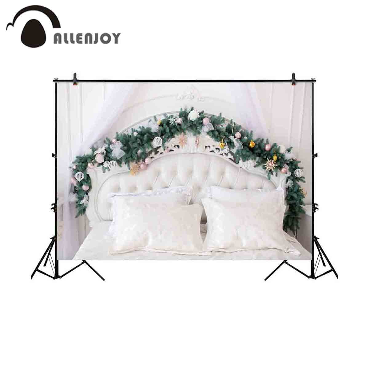 Allenjoy photography background Christmas headboard tufted pine tree leaf backdrop photocall photo studio photobooth fabric christmas pine baubles print fabric waterproof shower curtain