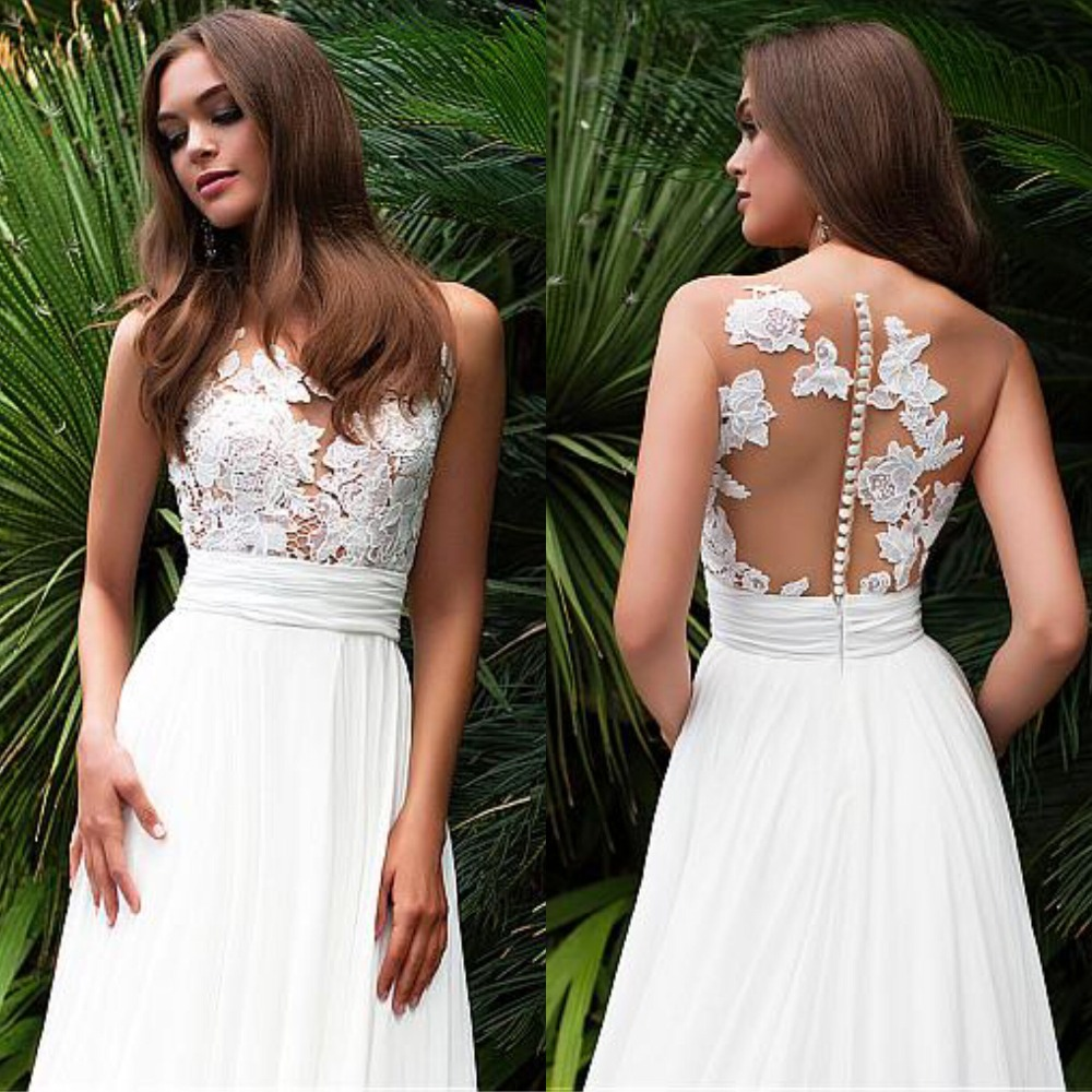 Hot Sale Sleeveless Chiffon Cheap Wedding Dress O-Neck See Through Back A-Line Bridal Dresses Appliques Vestidos De Noiva