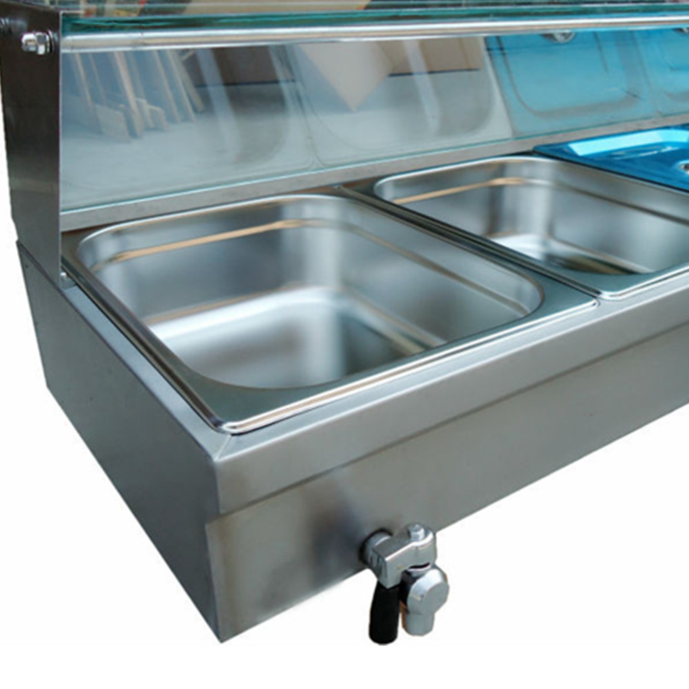 Electric Bain Marie Table Food Warmer Stainless Steel with 5 Pans ...