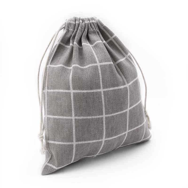 S/M/L bolsa de lino de algodón estampado a cuadros para mujer estuche de maquillaje bolsa con cordón bolsas de aseo de moda