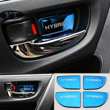 Moldura interior de la etiqueta engomada del Tazón interior de la puerta del automóvil para toyota Corolla auris 2013 2018, 4 unids/lote, accesorios para automóvil
