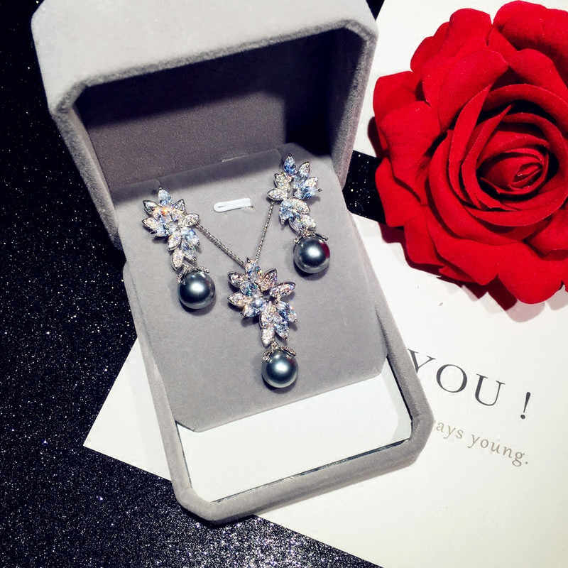 Vintage Jewelry Sets For Women S925 Silver Gray Freshwater Pearls Cubic Zirconia Stud Earrings Necklace Pendant Fine Jewelry