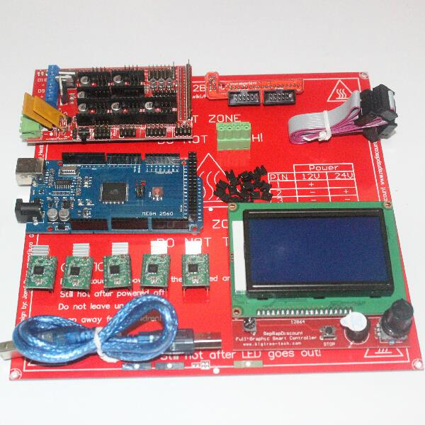 3D Printer Kit  for Arduino Mega 2560 R3 + Heated Bed MK2B + RAMPS 1.4 Controller +LCD 12864 + 5 A4988 Stepper Driver Module