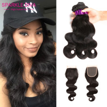 8A Peruvian Virgin Hair Body Wave With Closure 4 Bundles Cheap Human Hair With Closure Peerless