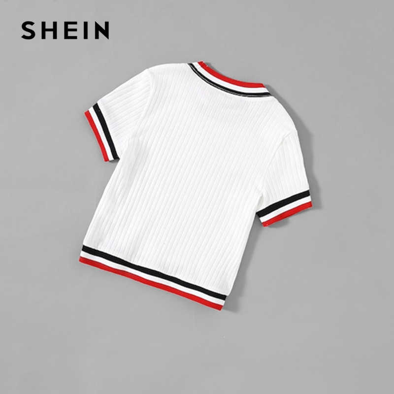 48ad52b9f6 ... SHEIN Kiddie White Striped Ribbed Casual T Shirt For Girls Clothing  2019 Summer Korean Short Sleeve ...